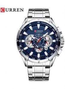 CURREN 8363 Relógio Quartz com Seis Pinos Calendário Multifuncional Prata Azul