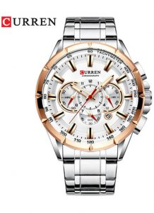CURREN 8363 Relógio Quartz com Seis Pinos Calendário Multifuncional Prata Dourado
