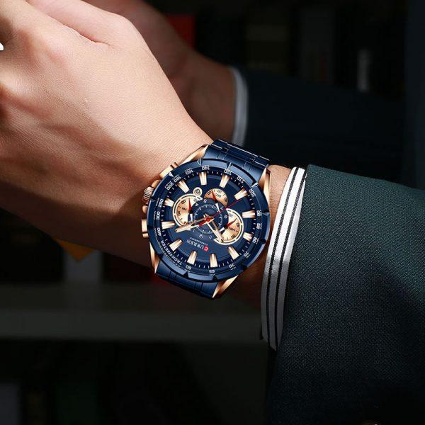 Relógio Curren 8363 Original Cronógrafo Funcional Lançamento Azul Rose Luxo