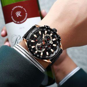 Relógio Curren 8363 Original Cronógrafo Funcional Lançamento Preto Rose Luxo