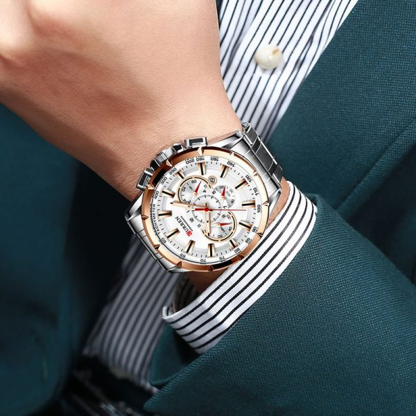 Relógio Curren 8363 Original Cronógrafo Funcional Lançamento Prata Dourado Luxo