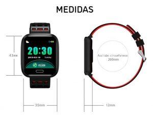 Relógio Smartwatch Eletrônico A8 Pró - Android e iOS - 43MM Medidas