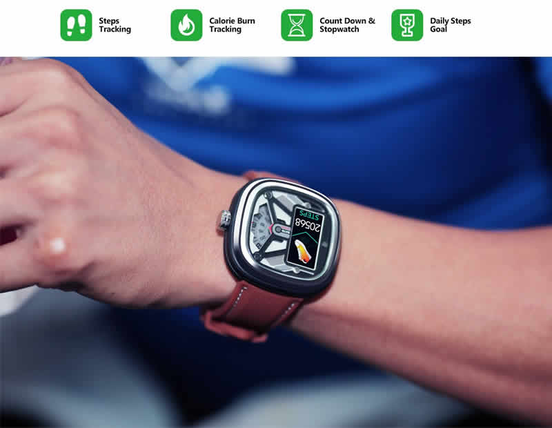 [Modos duplos]: Modo inteligente + Modo relógio, pode ser alternado entre os dois modos.  [Saúde e condicionamento físico]: frequência cardíaca, pressão arterial, monitoramento do sono, saúde feminina e rastreamento de atividades durante todo o dia.