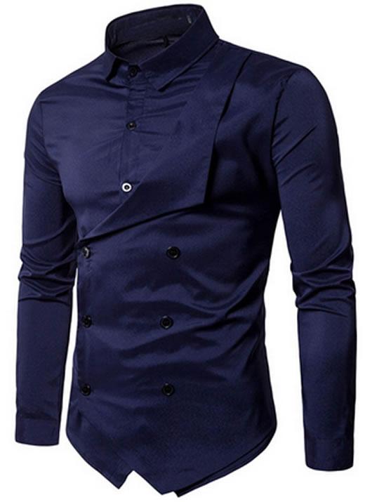 Camisa Duas Frente Importada Masculina Slim Fit Azul Marinho