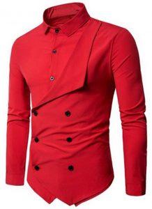 Camisa Duas Frente Importada Masculina Slim Fit Vermelho