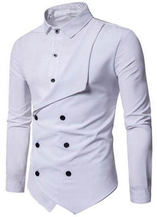 Camisa Duas Frente Importada Masculina Slim Fit Branco