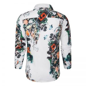 Camisa Florida Importada Slim Fit Feitong Preta Costas Branca