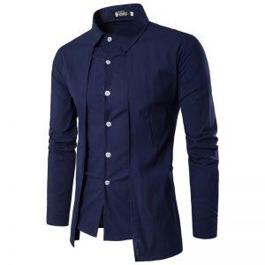 Camisa Zooga Slim Fit Importada Estilosa Manga Longa Azul Marinho Frente