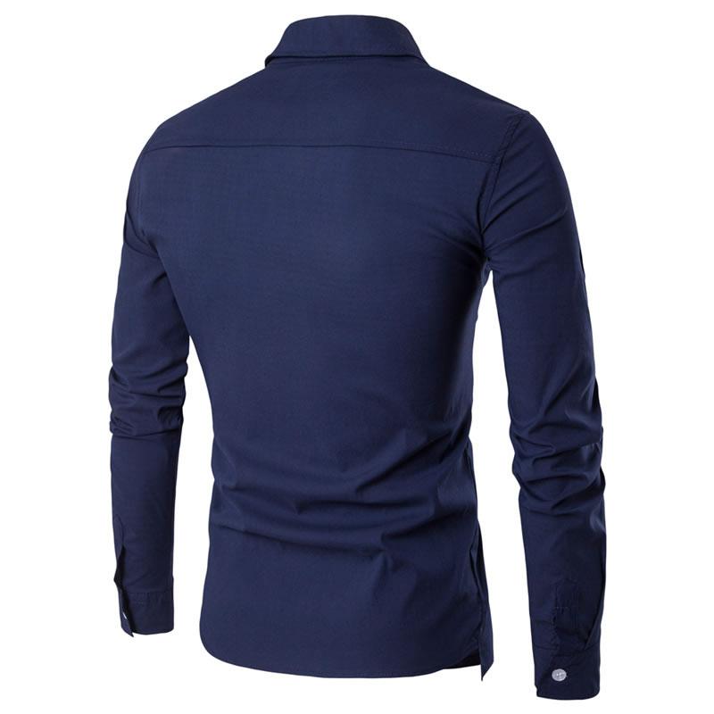 Camisa Zooga Slim Fit Importada Estilosa Manga Longa Azul Marinho Costas