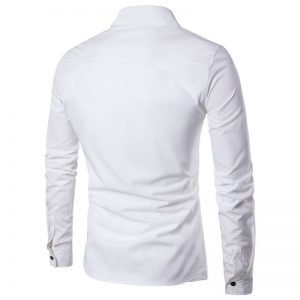 Camisa Zooga Slim Fit Importada Estilosa Manga Longa Branca Costas