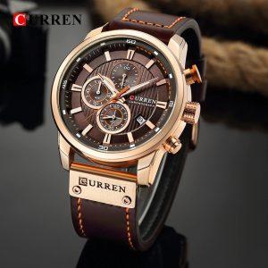 Relógio Curren 8291 Funcional Pulseira De Couro Cronógrafo Luxo