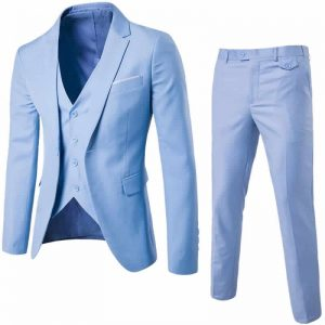 Blazer Masculino, Calça e Colete Azul Slim Fit