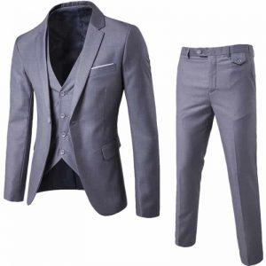 Blazer Masculino, Calça e Colete Cinza Slim Fit