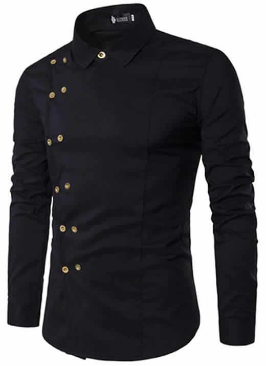 Camisa Tipo Militar Preta Slim Fit