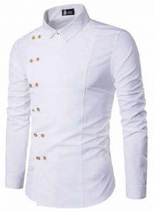 Camisa Tipo Militar Branca Slim Fit