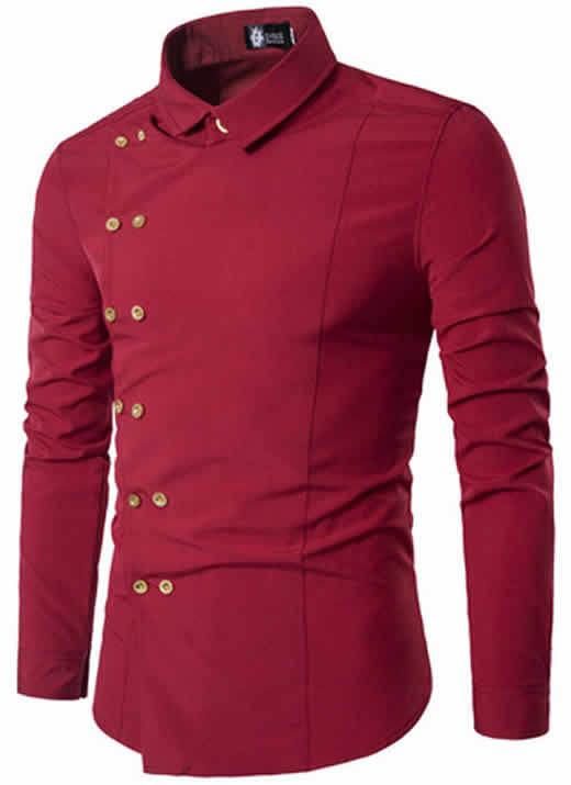 Camisa Tipo Militar Vermelho Bordo Slim Fit