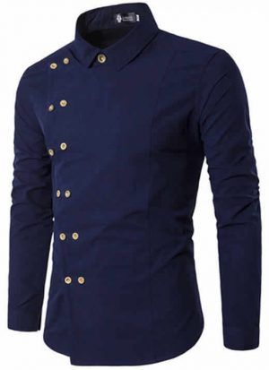 Camisa Tipo Militar Azul Marinho Slim Fit