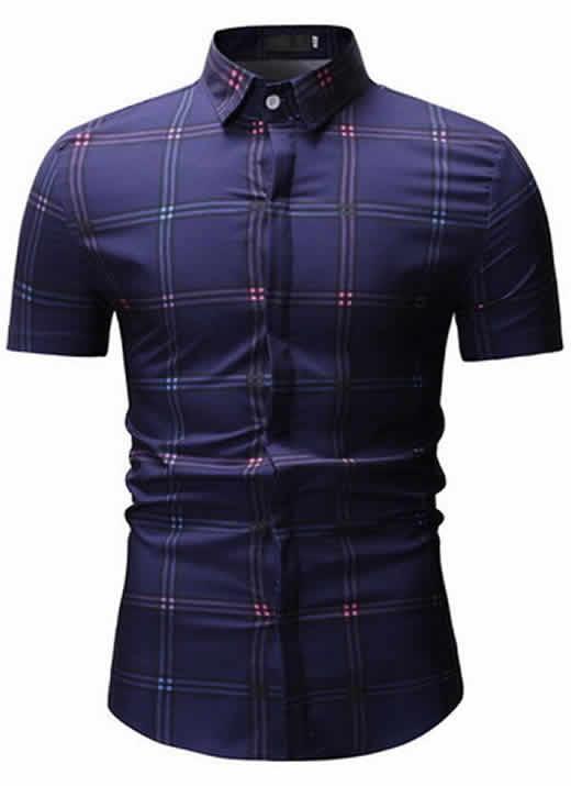 Camisas Xadrez Azul Slim Fit