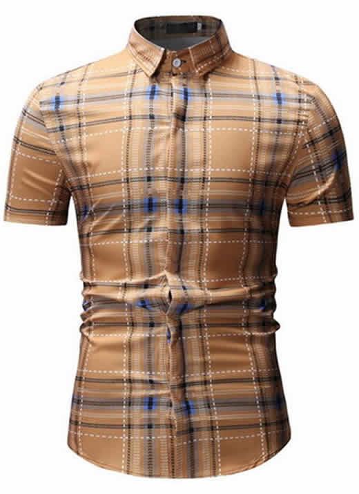 Camisas Xadrez Caqui