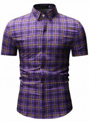 Camisas Xadrez Roxa Slim Fit