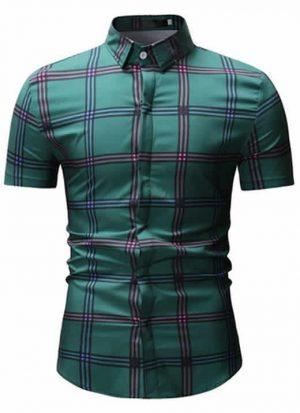 Camisas Xadrez Verde Slim Fit