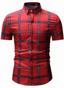 Camisas Xadrez Vermelha Slim Fit