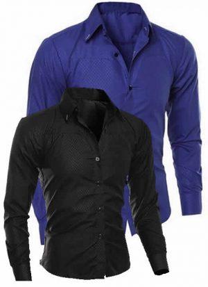 Camisas Importadas Kits 2 Unidades Preta e Azul