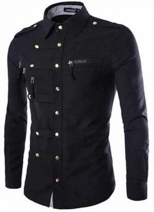 Camisa Militar Preta Slim Fit
