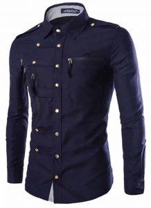 Camisa Militar Bege Slim Fit