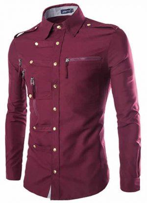 Camisa Militar Vinho Slim Fit