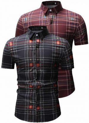 Kit 2 Camisas Xadrez Preta e Vermelha