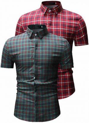 Kit Camisas Xadrez Vermelha e Verde