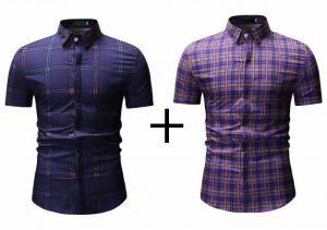 Kit 2 Camisas Xadrez Azul e Roxa