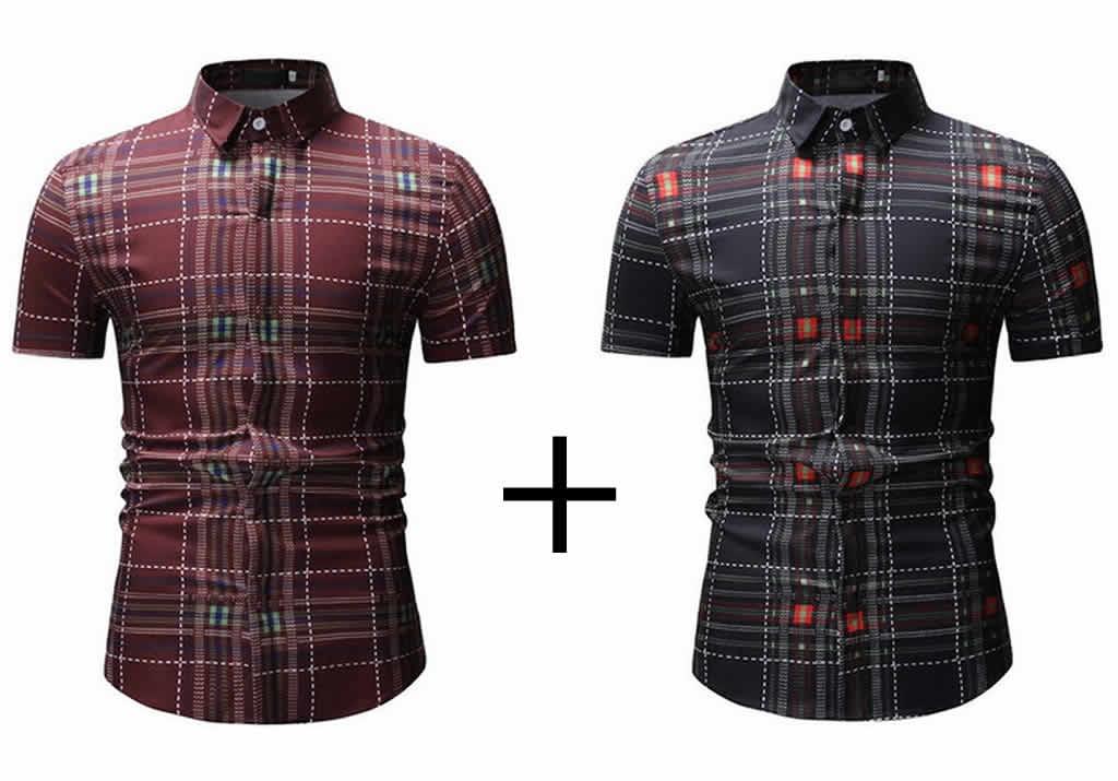 Kit Camisas Xadrez Vermelha e Preta