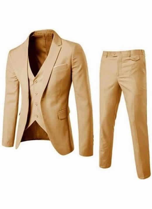 Blazer Masculino, Calça e Colete Caqui Slim Fit