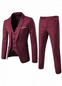 Blazer Masculino, Calça e Colete Vinho Slim Fit