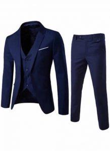 Blazer Masculino, Calça e Colete Azul Marinho Slim Fit