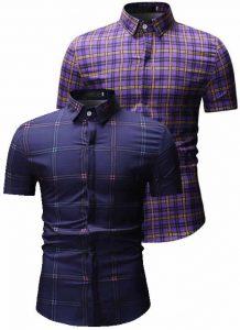 Kit 2 Camisas Xadrez Roxa e Azul