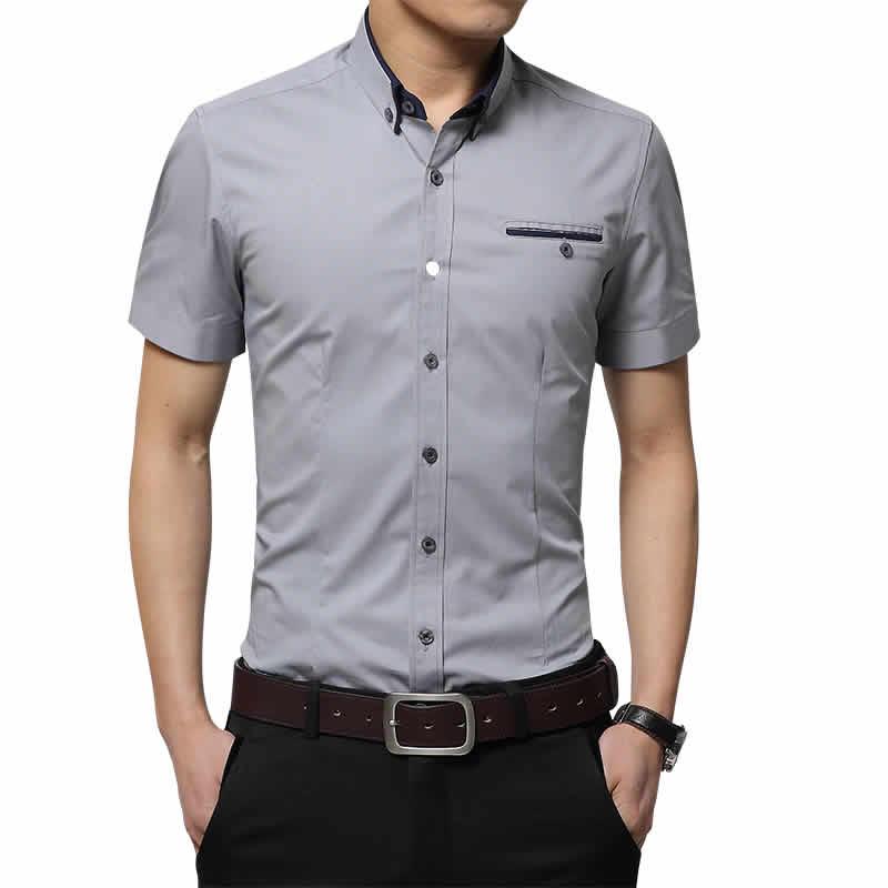 Camisas Slim Fit Importada Cinza Masculinas