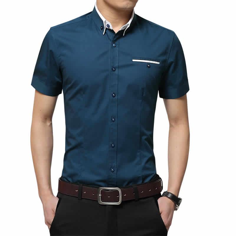 Camisas Slim Fit Impotadas Azul Escuro