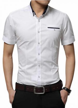 Camisas Masculinas Slim Fit Mandarim Importada