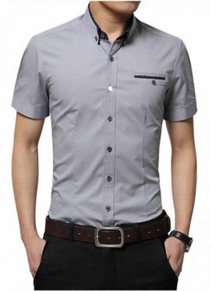 Camisas Slim Fit Importadas Masculinas Cinza