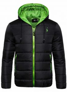 Jaqueta Impermeavel polo grf masculina preta e verde