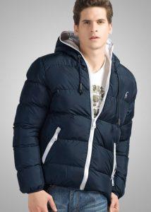 Jaqueta Impermeavel polo grf masculina azul e branca