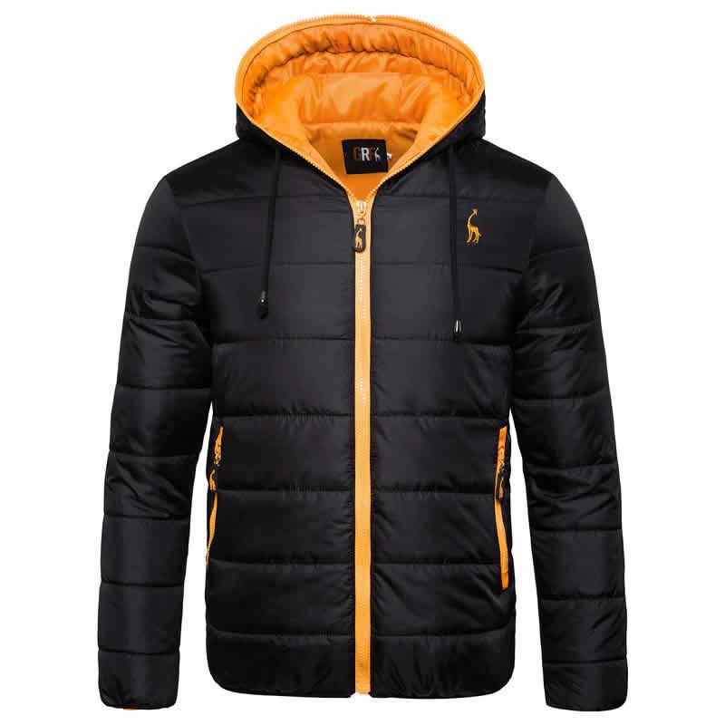 Jaqueta Impermeavel polo grf masculina preta e laranja