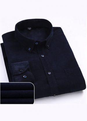 Camisa Aveludada Masculina Manga Longa - Azul Escuro Flanela