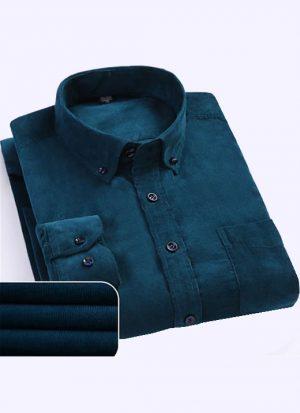 Camisa Aveludada Masculina Manga Longa - Azul Fosco Flanela