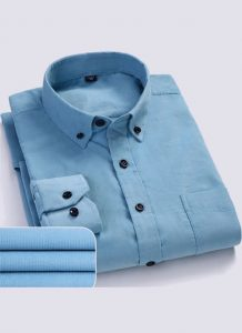 Camisa Aveludada Masculina Manga Longa - Azul Flanela