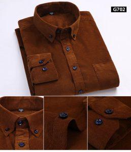 Camisa de Veludo Manga Longa - Marrom - Camisa de Veludo, Camisa de Flanela