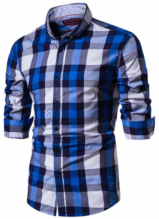 Camisa Xadrez Masculina Azul e Branca